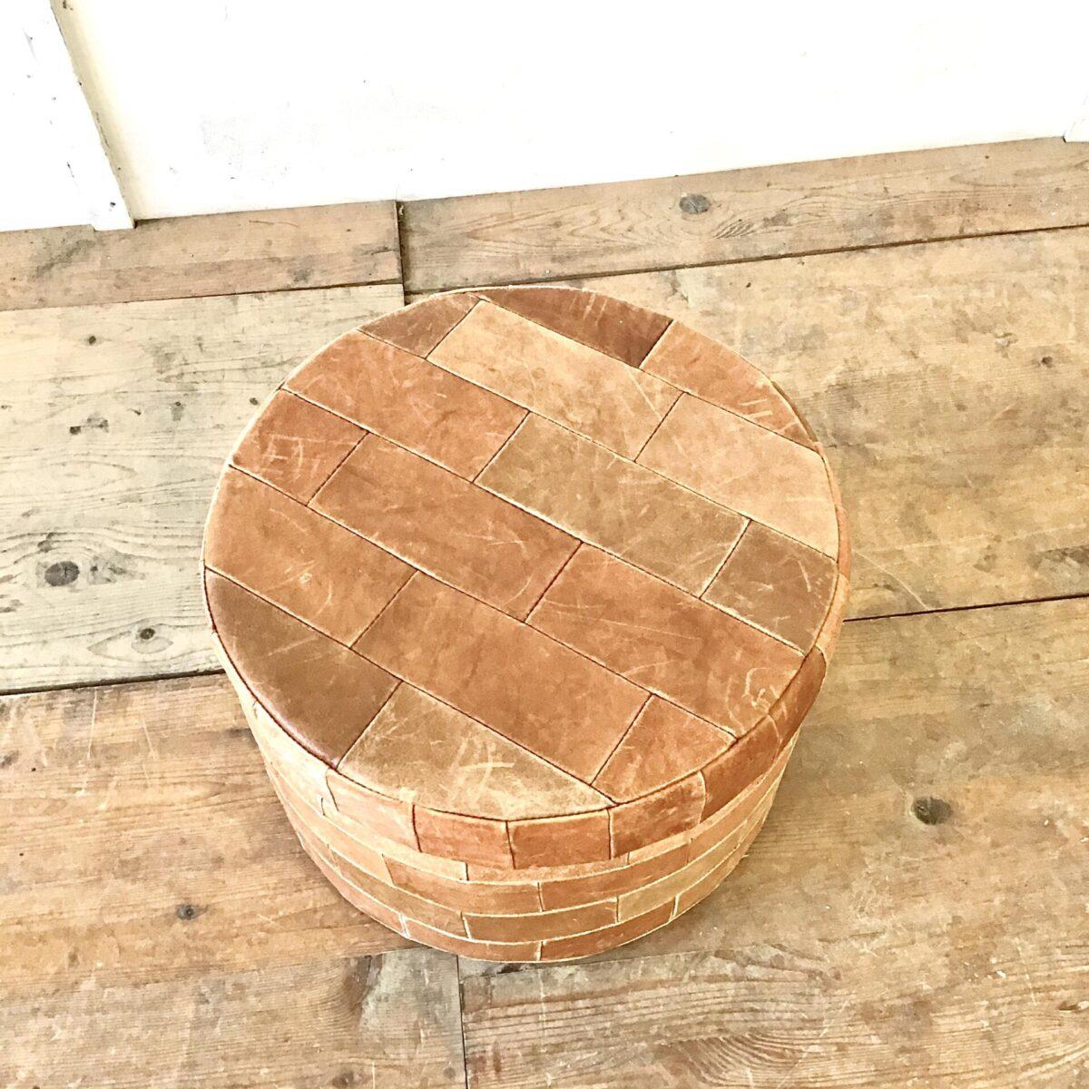 Vintage Leder Sitzhocker Wäschekorb Durchmesser 48cm Höhe 34cm.