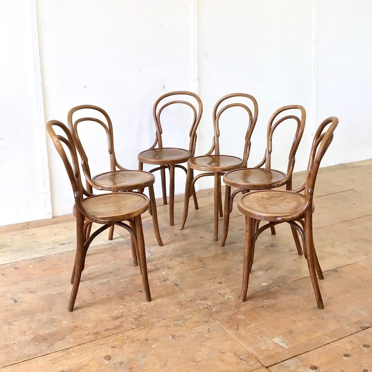 6er Set Bistrostühle von horgenglarus restauriert. Diese alten Bugholzstühle haben ein schönes Blumenmuster auf der Sitzfläche. Technische Mängel, wie wacklige Vorderbeine, sind frisch verleimt. Warme Kastanienbraune Alterspatina. Unter der Sitzfläche haben die Stühle, die etwas selteneren, Kreuzverstrebungen.