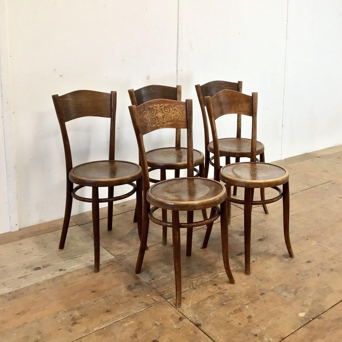 5er Set Albert Stoll Kaffeehausstühle. Sitzhöhe 48cm. Diese Bistrostühle, mit den Pflanzenmuster, sind restauriert. Vorderbeine wo nötig neu eingeleimt. Zwei furnier Ausbrüche, auf der Hinterseite der Rückenlehne, frisch eingesetzt. Zwei der lehnen unterscheiden sich etwas von den anderen, eine in der Form die andere im Muster. Kastanienbraune Alterspatina.